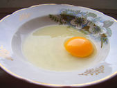 Egg on plate. — Stock Photo