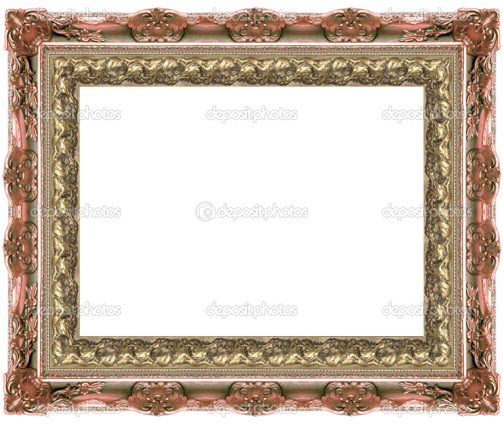 A picture gold frame on a white — Stock Photo #9515339