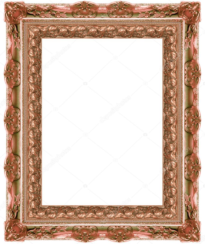 A picture gold frame on a white — Stock Photo #9515400