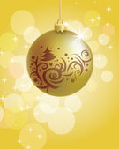 Golden Christmas ball — Stock Vector
