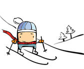 Winter sport, skiing — Stock Vector
