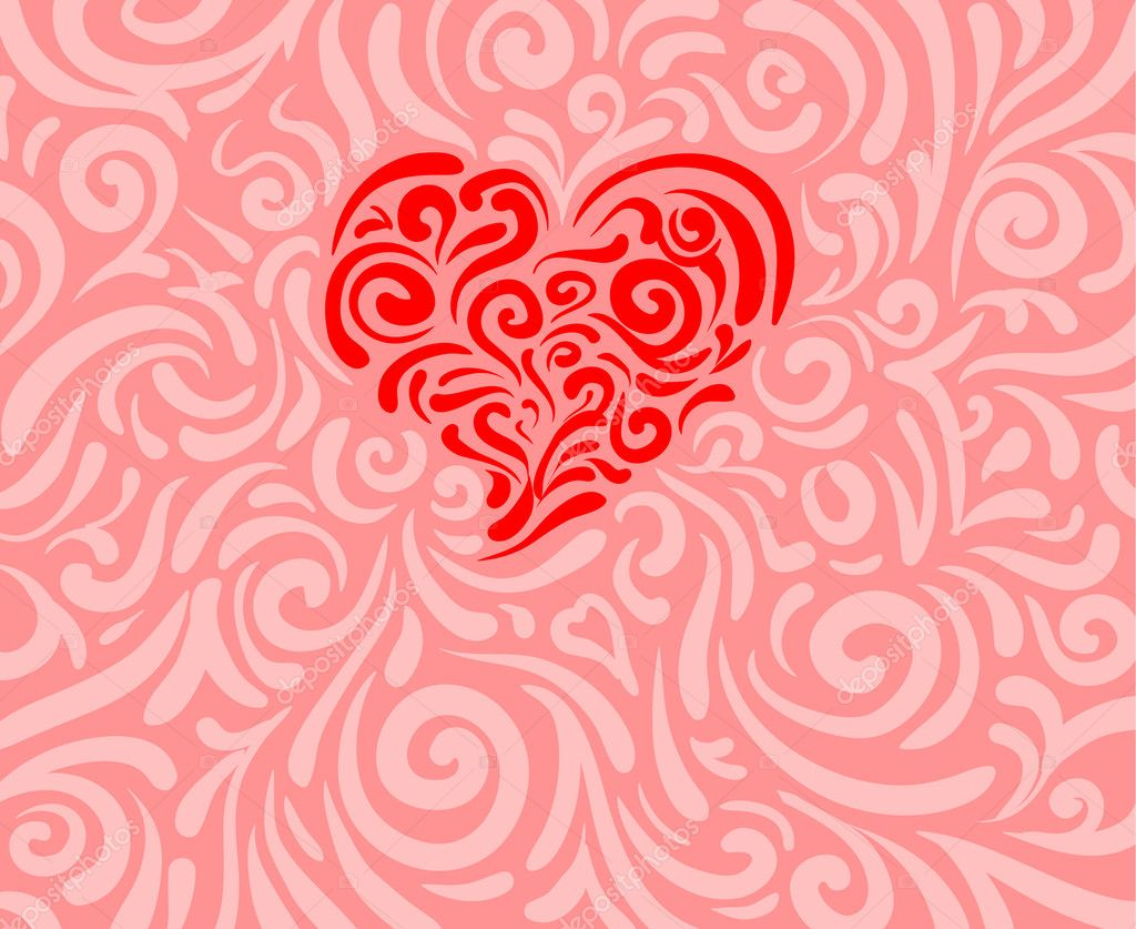 Swirling ornamentation formed into a heart shape — Stock Vector #8885390