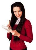 铅笔和记事本的女人 — 图库照片