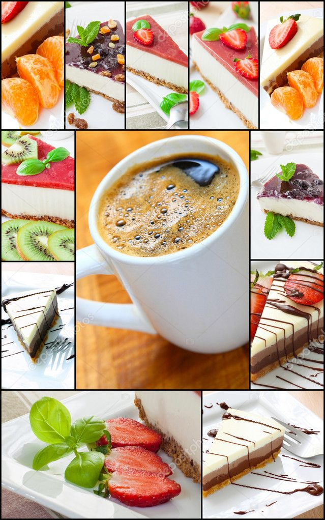 Collage of cheesecake with fruits and mint — Stock Photo #10487993