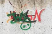 Abstracte eenvoudige graffiti op de muur — Stockfoto