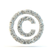 White copyright mark isolated on white. — Stock Photo