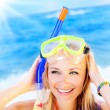 Cute teen girl having fun on the beach — Stock Photo