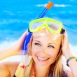 Cute teen girl having fun on the beach — Stock Photo #10582559