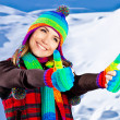 Foto Stock: Happy smiling girl portrait, winter fun outdoor