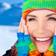 Happy smiling girl portrait, winter fun outdoor — Stok fotoğraf #8016430