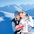 Happy couple outdoor at winter mountains — Stock Photo #8016472