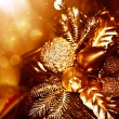 Golden Christmas tree decoration — Stock Photo