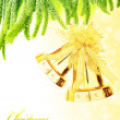Christmas tree bells border — Stock Photo