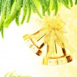 Christmas tree bells border - Stock Photo