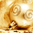 Golden Christmas tree ornament — Stock Photo