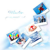 Winter photo collage — Stock fotografie