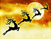 Reindeer silhouette in night sky — Stock Photo