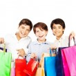 Happy boys with gifts — Stock Photo