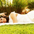 Happy bride on the grass — Stock Photo #8247012