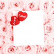 Beautiful pink roses with gift card & hearts — Stok fotoğraf
