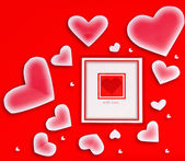 Lege kaart met rood hart — Stockfoto