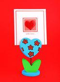 Tomma kort med rött hjärta — Stockfoto