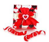 Rot romantisches geschenk-box — Stockfoto