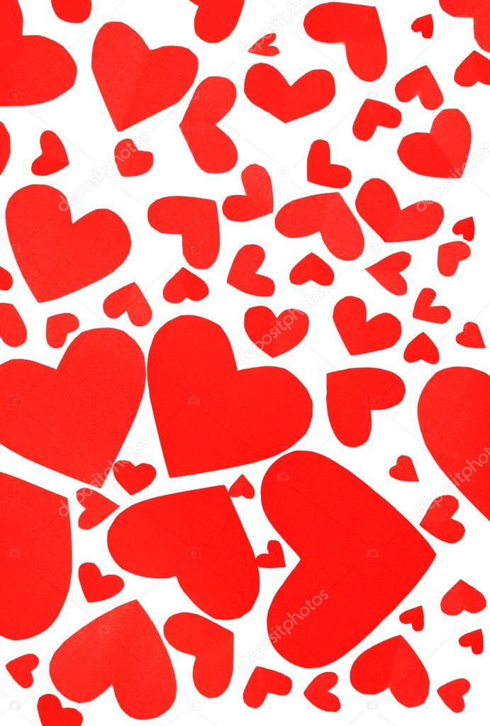 Red hearts background, many paper hearts isolated on white  Stock Photo #8247814