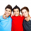 Happy boys teenagers,  best friends fun - Stok fotoğraf