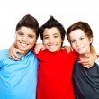 Happy boys teenagers,  best friends fun - Stock Photo