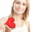 Beautiful woman holding heart, selective focus — Stock Photo