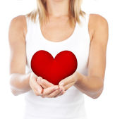 Healthy woman holding heart, selective focus — Stock Photo