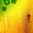 Beer background with clover border — Stock Photo