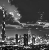 Dubai downtown at night, black and white picture — Stock Photo