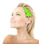 Beautiful woman with wreath of clover — Stock Photo