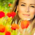 Closeup on beautiful woman face — Stock Photo