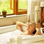 Woman taking bath — Stock Photo
