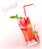 Red fruity cocktail border — Stock Photo
