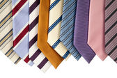 Collection of neckties hanning — Stock Photo