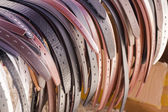 Leather belts in various colors — Stock Photo