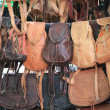 Exhibition of leather bags — Stock Photo