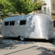 Typical metallic gray old caravan, 1950 — Stock Photo #8446135