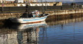 Fishing boats moored at the port — Stock Photo