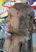 Wooden sculpture of the head of Goya — Stock Photo