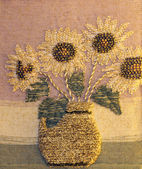 Artistic painting of sunflowers handwoven — Stock Photo