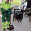 Sweeper cleaning service worker of City of Madrid — Stock Photo #9540163