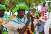 Junkanoo performer with trumpet — Stock Photo