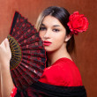 Flamenco dancer woman gipsy red rose spanish fan — Stock Photo