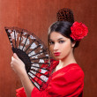 Flamenco dancer woman gipsy red rose  spanish fan - Stock Photo