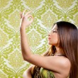 Stock Photo: Asian Indian brunette girl with long hair dancing